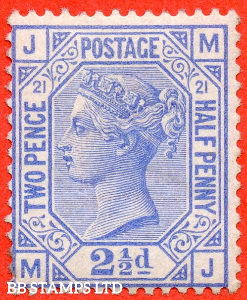 "SG. 157. J23. "" AH "". 2½d blue. Plate 21. A super UNMOUNTED MINT example."