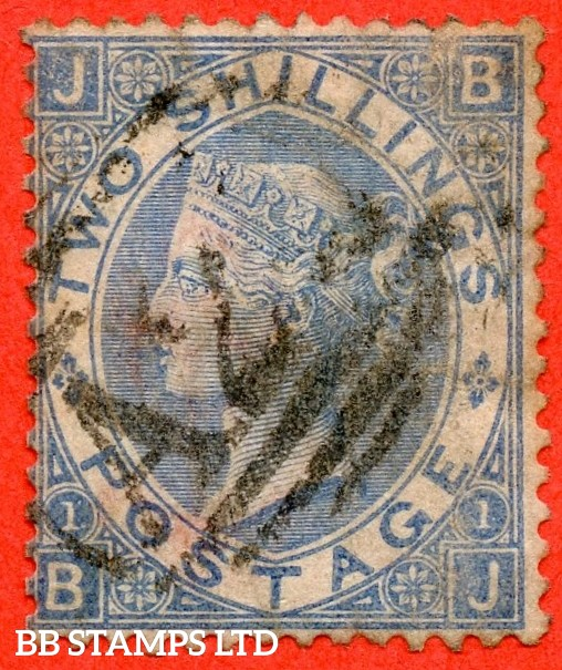 "SG. 120 a. J118 (4). 2/- Cobalt. "" BJ "" A good used example of this RARE Victorian shade variety. Minor faults but a super spacefiller."