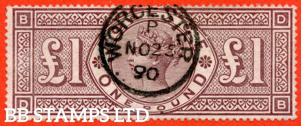"""SG. 185. K15. """" DB """". £1.00 Brown - lilac. A SUPERB """" 25th November 1890 WORCESTER """" CDS used example of this popular Victorian high value."""
