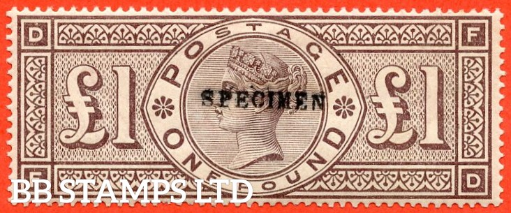 """SG. 185 s. K15 t. """" FD """". £1.00 brown - lilac. A fine mounted mint example overprinted SPECIMEN type 9."""