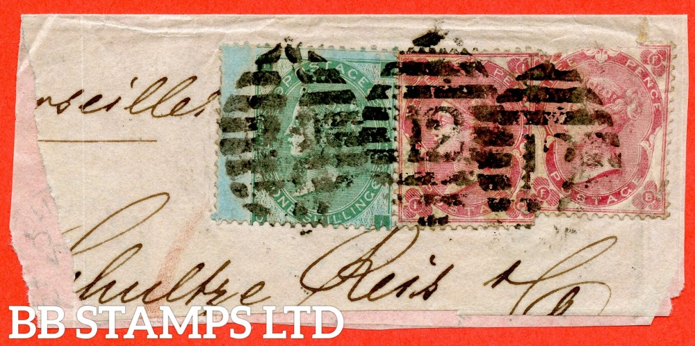 """SG. 90 b. J101 (2). F """" OI """". 1/- Green. AZURE PAPER. A good used example on piece with 2 x SG. 77. UNPRICED IN SG and complete with RPS certificate."""