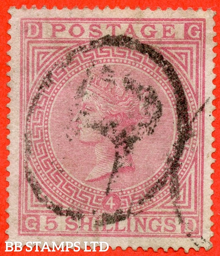"SG. 134. J123 a. "" GD "" 5/- Rose. Plate 4. A good - fine used example."
