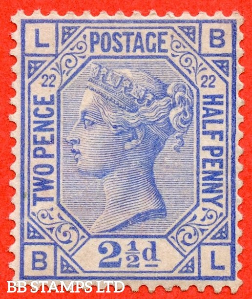 "SG. 157. J24. "" BL "". 2½d blue. Plate 22. A fine lightly mounted mint example."