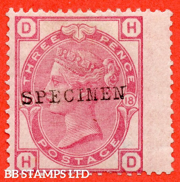 "SG. 143 sb. J42 s. "" HD "". 3d rose. Plate 18. A fine lightly mounted mint example overprinted "" SPECIMEN "" type 9."