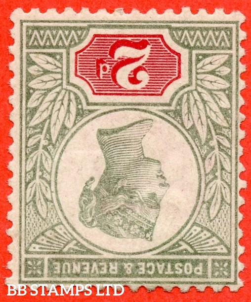 SG. 200 wi. K30 (3). 2d grey - green & carmine. INVERTED WATERMARK. A fine lightly mounted mint example of this RARE watermark variety.