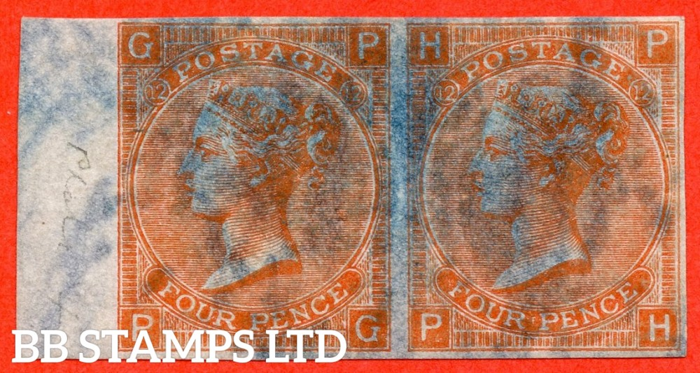 """SG. 94. J59 b. """" PG PH """". 4d Vermilion. Plate 12. A fine lightly mounted mint imperforate left hand marginal horizontal pair on """" DR PERKINS BLUED PAPER."""