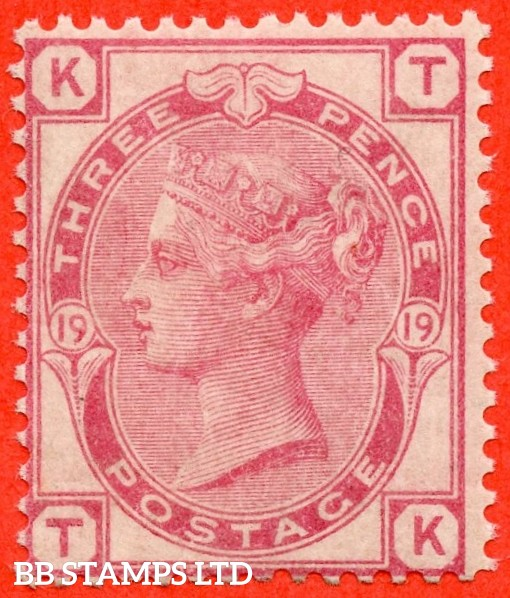 "SG. 143. J43. "" TK "". 3d rose plate 19. A fine UNMOUNTED MINT example."