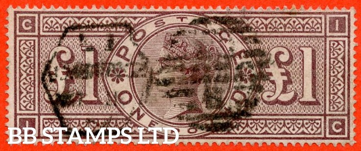"""SG. 185. K15. """" IC """". £1.00 brown - lilac. A good - fine used example."""
