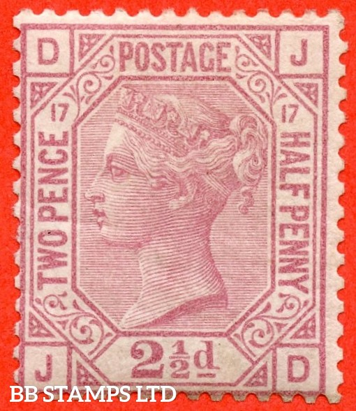 """SG. 141. J18. """" JD """". 2½d rosy mauve. Plate 17. A very fine UNMOUNTED MINT example."""