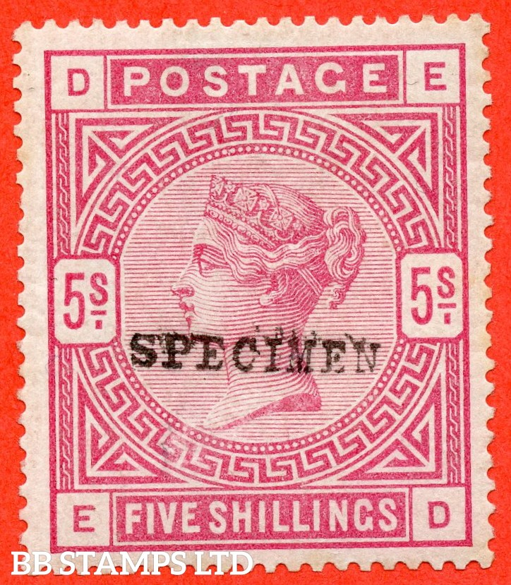 """SG. 180. """" ED """" 5/- Rose. A fine mounted mint example overprinted SPECIMEN type 9."""