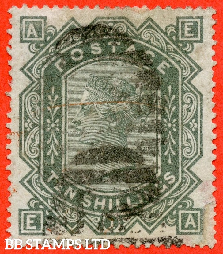 "SG. 135. J125 a. "" EA "". 10/- greenish grey. A good used example with slight faults."