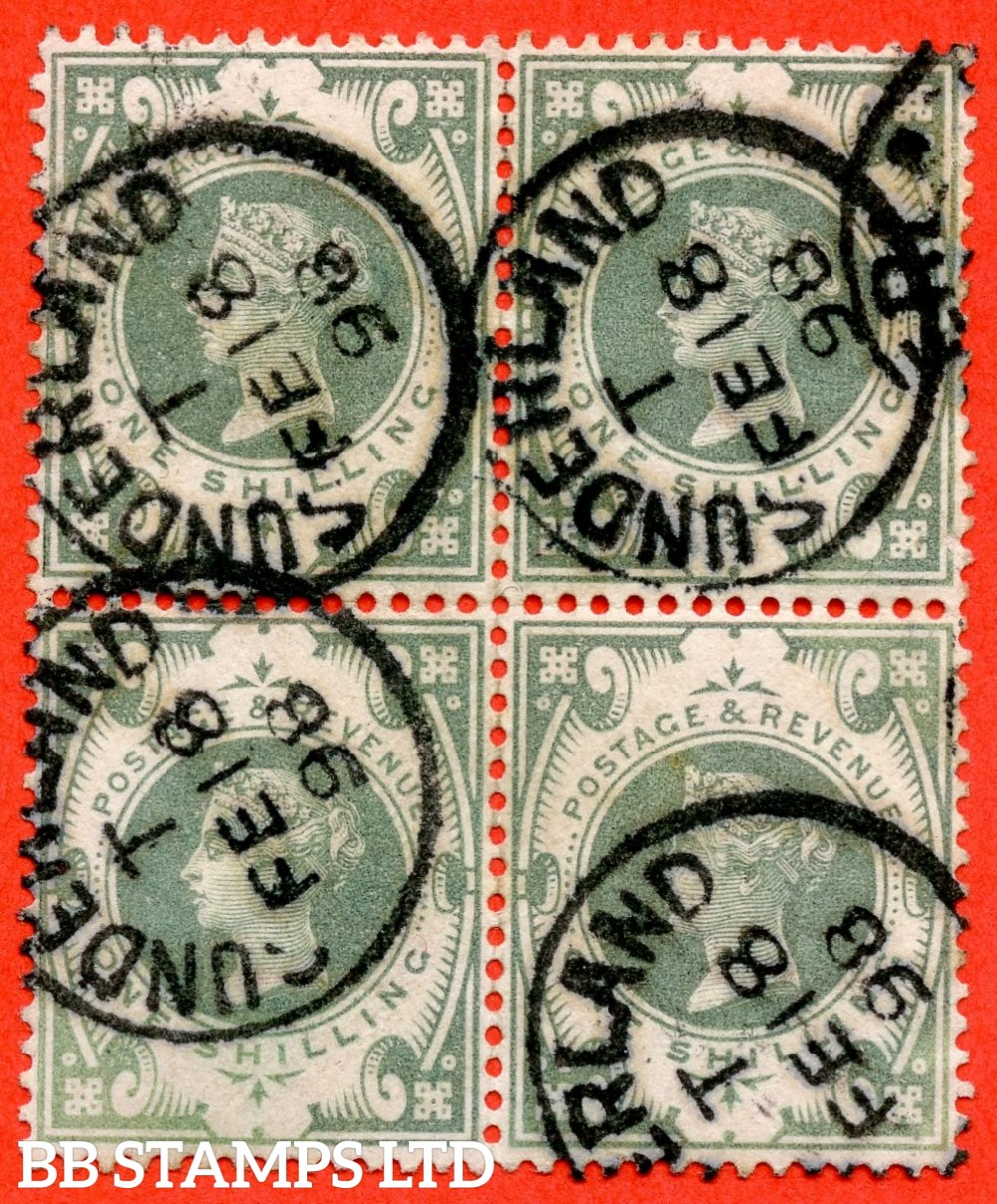 "SG. 211. K40 (1). 1/- dull green. A fine "" 18th February 1898 SUNDERLAND "" CDS used block of 4."