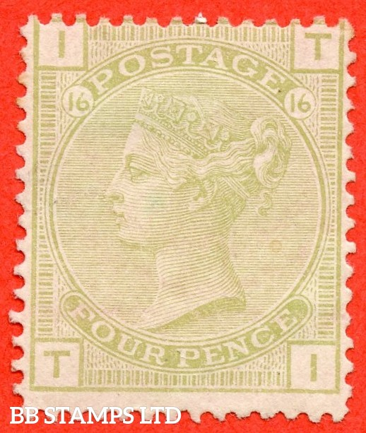 """SG. 153. J65. """" TI """". 4d sage green. Plate 16. A fine mounted mint example."""