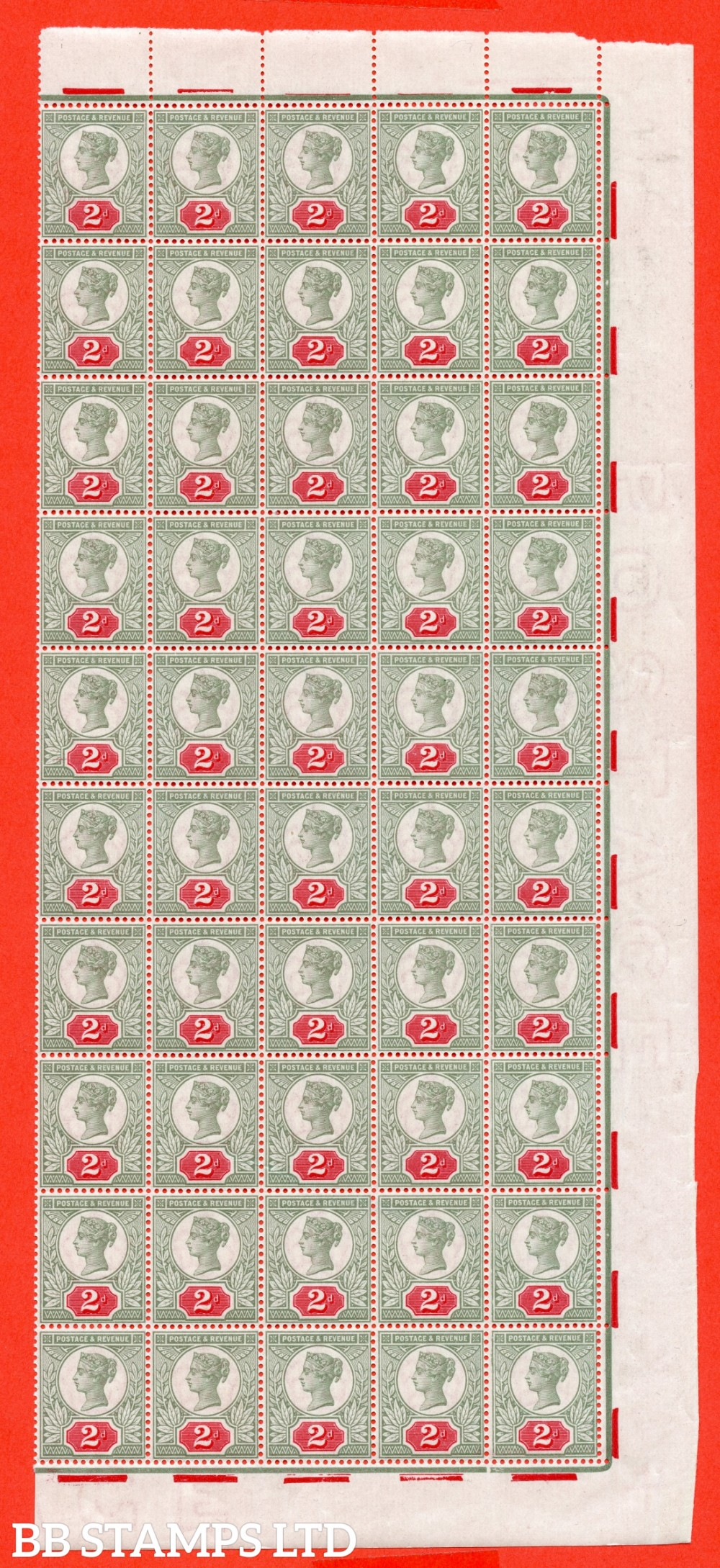 """SG. 200 variety K30 (2) b. 2d yellow - green & carmine. A superb UNMOUNTED MINT marginal block of 50 with 5 stamps having the listed """" Double frame line at left """" variety. These being Rows 5 - 6 - 7- 8 & 9 -- stamp 12."""