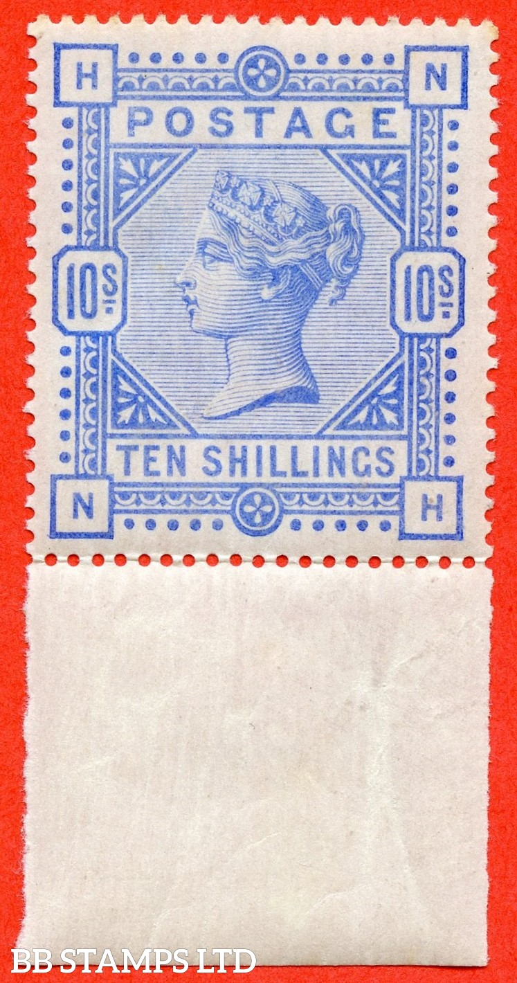 "SG. 183. K14 (2). "" MG "". 10/- ultramarine. A very fine UNMOUNTED MINT bottom marginal example."
