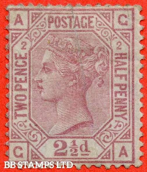 """SG. 138. J2a. """" GA """". 2½d rosy mauve. """" BLUED PAPER """". Plate 2. A fine mounted mint example of this RARE mint Victorian issue complete with BPA certificate. A light diagonal corner crease ( very small ) BUT a RARE stamp."""