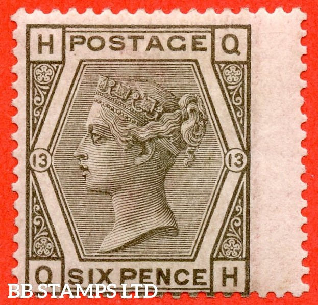 "SG. 147. J83. "" QH "" 6d Grey plate 13. A very fine UNMOUNTED MINT example."