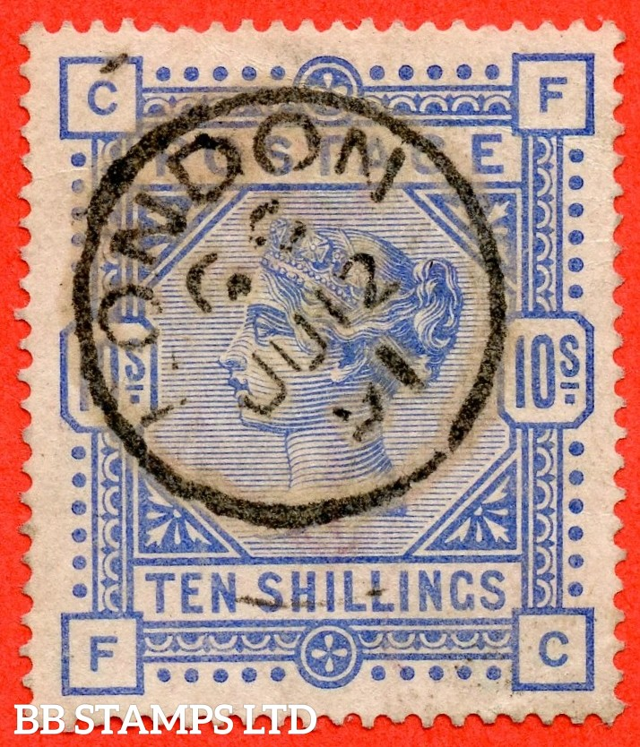 "SG. 183. K14 (2). "" FC "". 10/- ultramarine. A fine "" 12th June 1891 LONDON "" CDS used example."