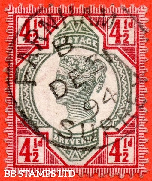 "SG. 206a. K34 (3). 4½d green & deep bright carmine. A very fine "" 31st December 1894 FARNHAM "" CDS used example."