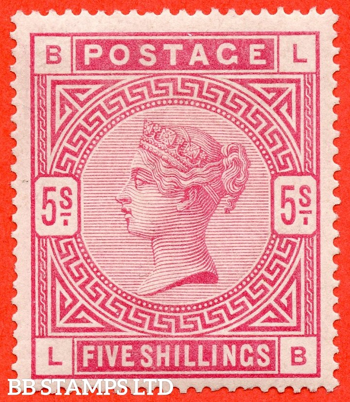 "SG. 180. K12 (1). "" LB "". 5/- Rose. A fine lightly mounted mint example."