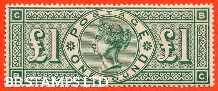 "SG. 212. K17. £1.00 Green "" BC "". A superb UNMOUNTED MINT example."