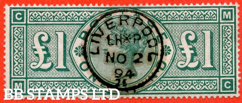 """SG. 212. K17. £1.00 Green """" MC """". A superb """" 2nd November 1894 LIVERPOOL """" CDS used example."""