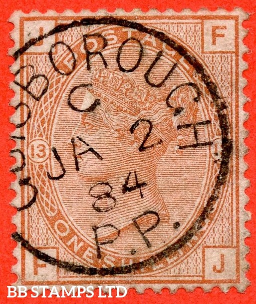 "SG. 163. J116. "" FJ "".1/- orange - brown plate 13. A very fine "" 2nd January 1884 GUISBOROUGH "" CDS used example."