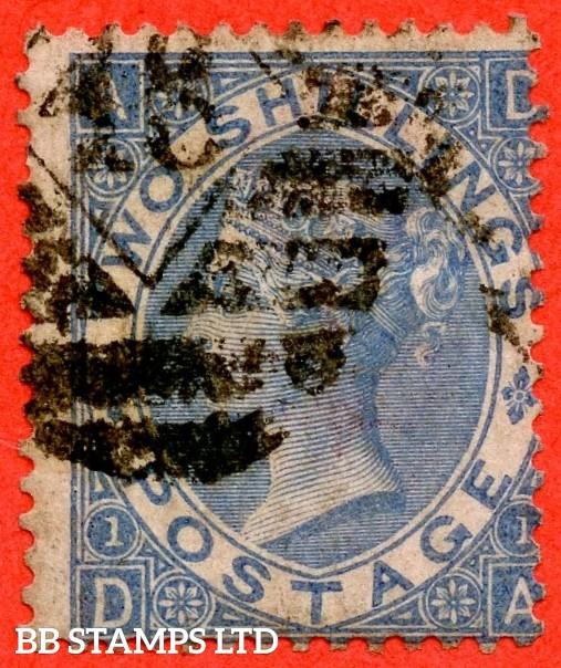 "SG. 120 a. J118 (4). 2/- Cobalt. "" DA "" A good used example of this RARE Victorian shade variety. Minor faults but a super spacefiller."