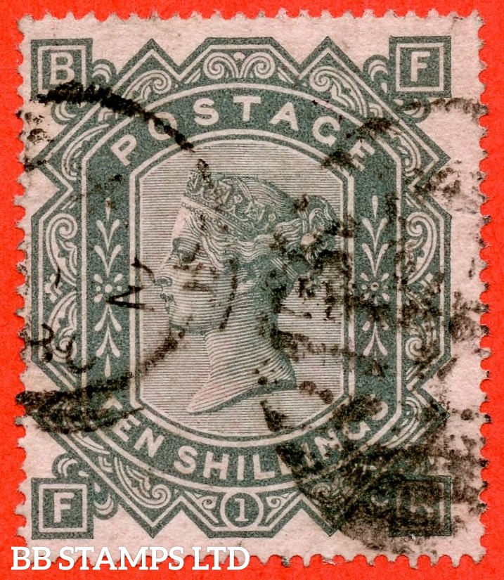 """SG. 128. J124. """" FB """". 10/- Greenish grey. A fine used example of this early Victorian high value."""