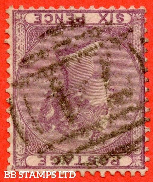 SG. 70 wi. Variety J70 (3) f. 6d lilac. INVERTED WATERMARK. A fine used example.