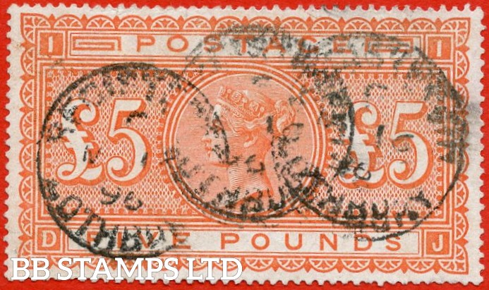 "SG. 137. "" DJ "". £5.00 Orange. A good - fine used example of this classic Victorian high value."