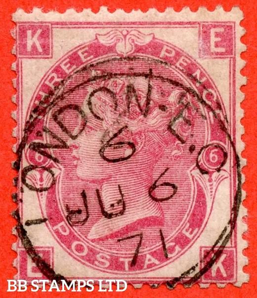 "SG. 103. J31. "" EK "". 3d rose. Plate 6. A fine "" 6th June 1871 LONDON "" CDS used example."