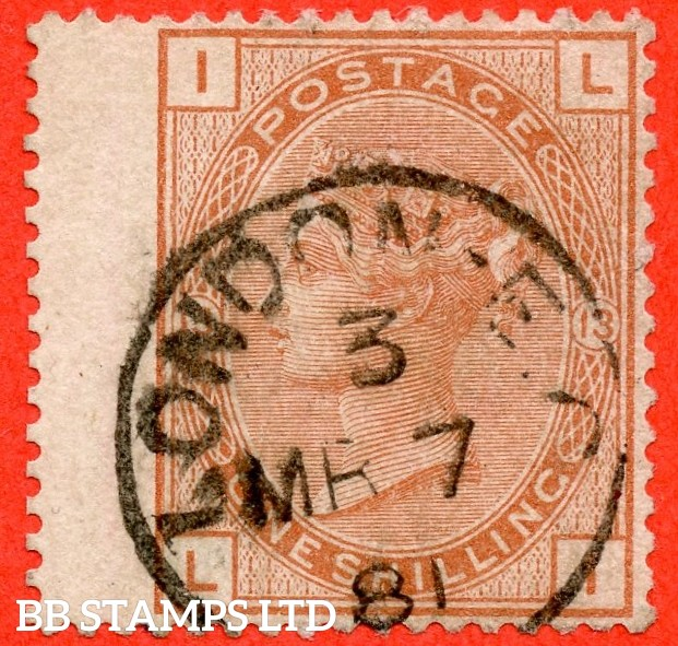 """SG. 151. J115. """" LI """". 1/- orange brown.. Plate 13. A fine upright """" 7th March 1881 LONDON """" CDS used example complete with RPS certificate."""