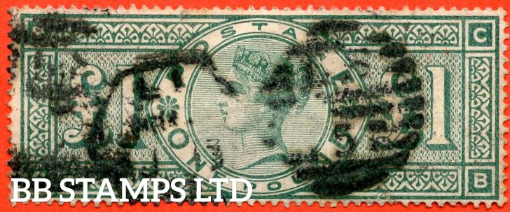 "SG. 212. K17. £1.00 Green "" CB "". A used example of this classic Victorian high value."