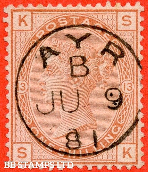 "SG. 151. J115. "" SK "". 1/- orange brown.. Plate 13. A superb upright "" 9th July 1881 AYR "" CDS used example."