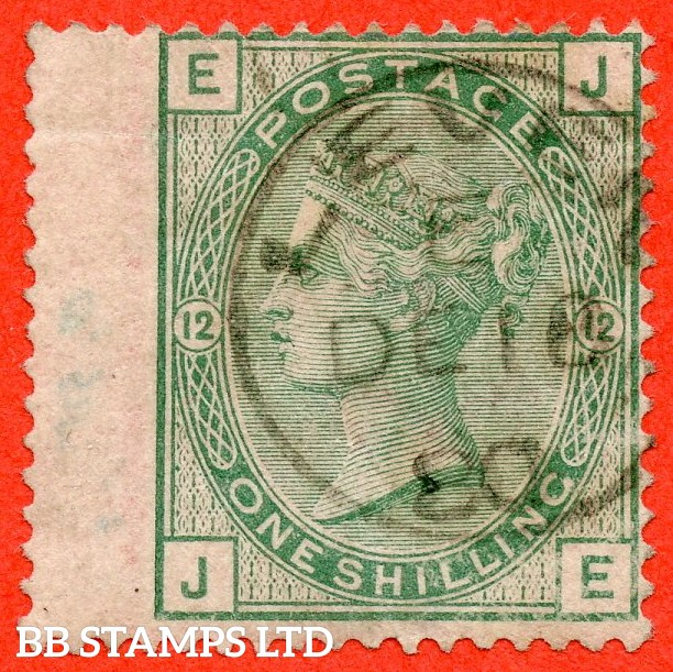 "SG. 150. J112. "" JE "". 1/- green. Plate 12. A very fine "" December 18th 1880 LEVEN "" CDS used example."