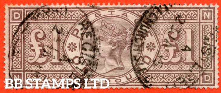 "SG. 185. K15. "" ND "". £1.00 brown - lilac. A fine used example with "" 23rd January 1885 GRACECHURCH STREET "" cancel."