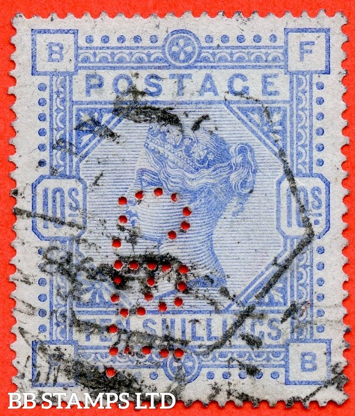 """SG. 177. K13 (1). """" FB """". 10/- Ultramarine ( blued paper ). A good used example of this very scarce Victorian high value. Perfin """" CBT """" but a good spacefiller"""