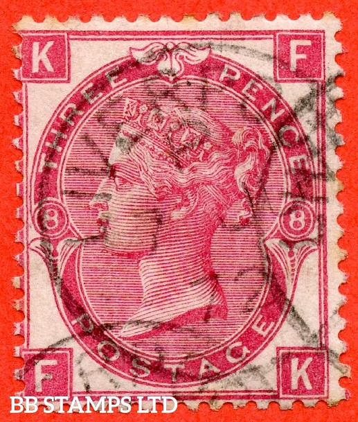 """SG. 102. J33. """" FK """" 3d Deep Rose. Plate 8. A fine """" June 7th 1872 LIVERPOOL """" CDS used example."""