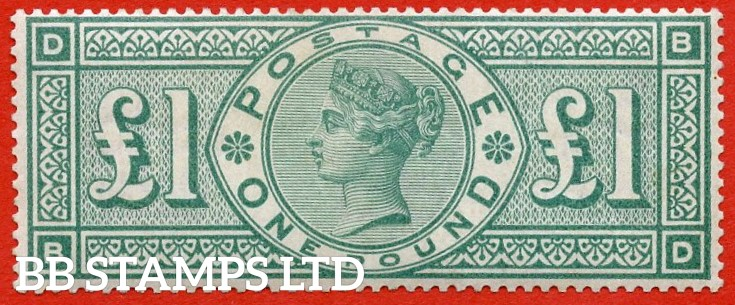 """SG. 212. £1.00 Green """" BD """". A Super UNMOUNTED MINT example of this popular stamp. Excellent colour and perfs, becoming very difficult to find in this grade."""