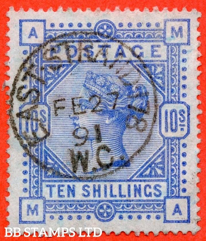 "SG. 183. K14 (2). "" MA "". 10/- ultramarine. A very fine "" 27th February 1891 EAST STRAND "" CDS used example."