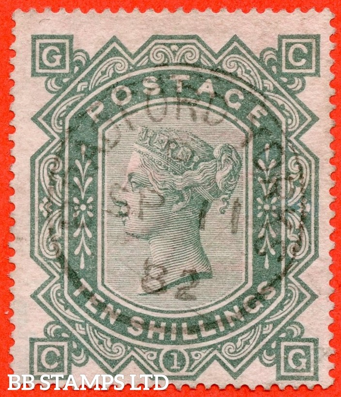 """SG. 128. J124. """" CG """". 10/- Greenish grey. A fine upright """" 11th September 1882 BRADFORD """" CDS used example of this popular early Victorian high value."""