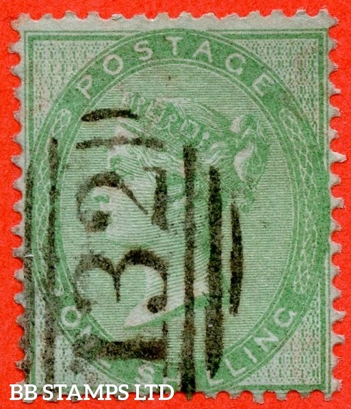 """SG. 72 a. 1/- green. """" AZURE PAPER """". A fine used example of this RARE paper variety."""