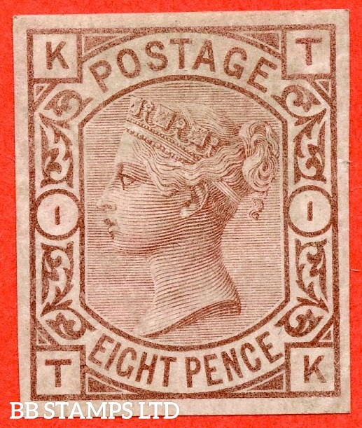 """SG. 156a. J 91. """" TK """". 8d Purple - brown. IMPRIMATUR. A fine mounted mint example of this VERY RARE Victorian issue."""