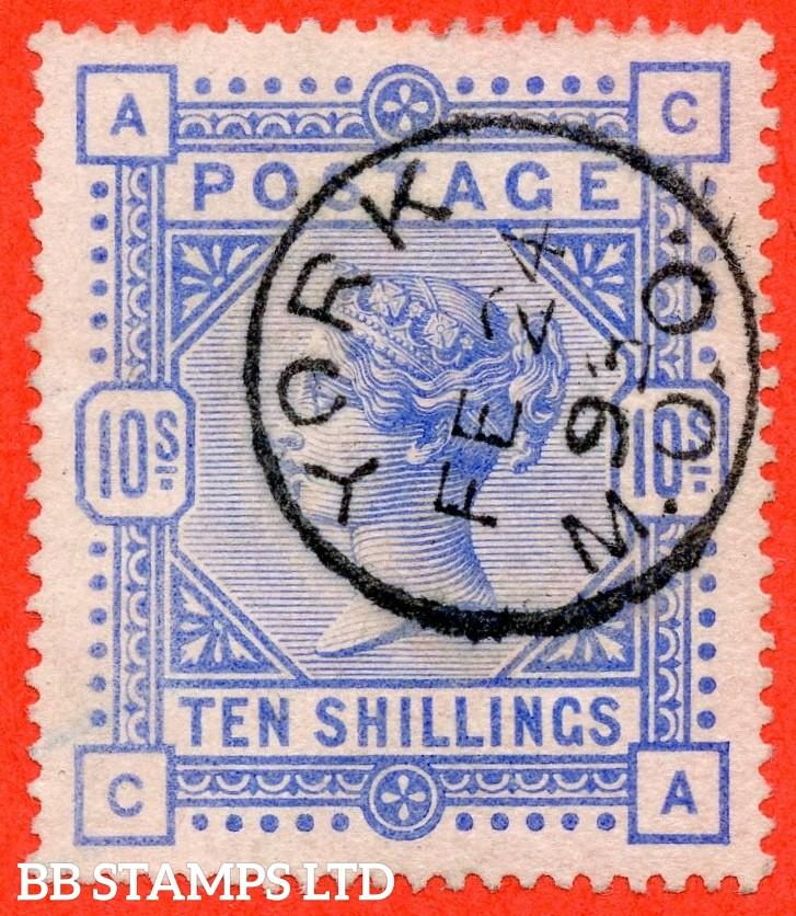 "SG. 183. K14 (2). "" CA "". 10/- ultramarine. A very fine "" 24th February 1893 YORK "" CDS used example."