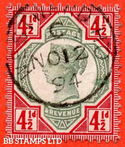 "SG. 206a. K34 (3). 4½d green & deep bright carmine. A very fine "" 12th November 1894 WESTWARD "" CDS used example."