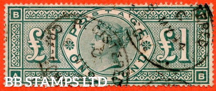 """SG. 212. K17. £1.00 Green """" AB """". A fine """" 24th May """" used example."""