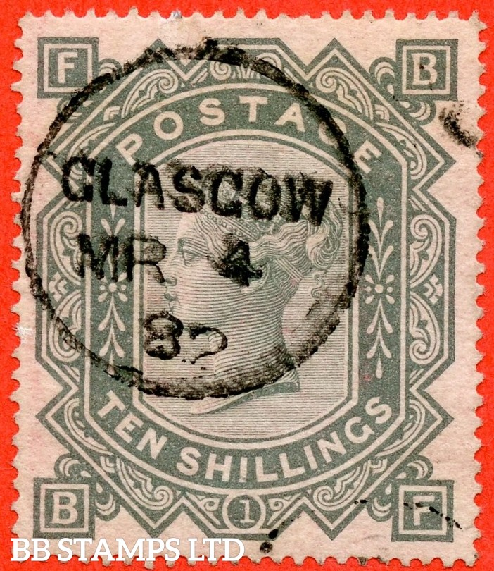 "SG. 128. J124. "" BF "". 10/- Greenish grey. A fine upright "" 4th March 1882 GLASGOW "" CDS used example of this popular early Victorian high value."