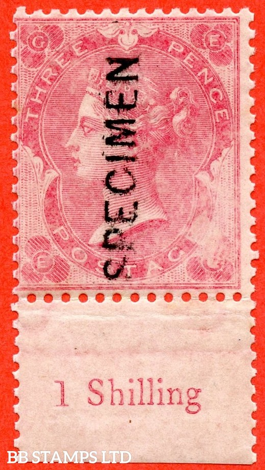 "SG. J25 A. "" EG "". 3d Rose with "" shaded spandrels "". A fine UNMOUNTED MINT bottom marginal inscriptional example overprinted SPECIMEN type 6. Also with a fine partial missing printing ERROR lower right hand side."