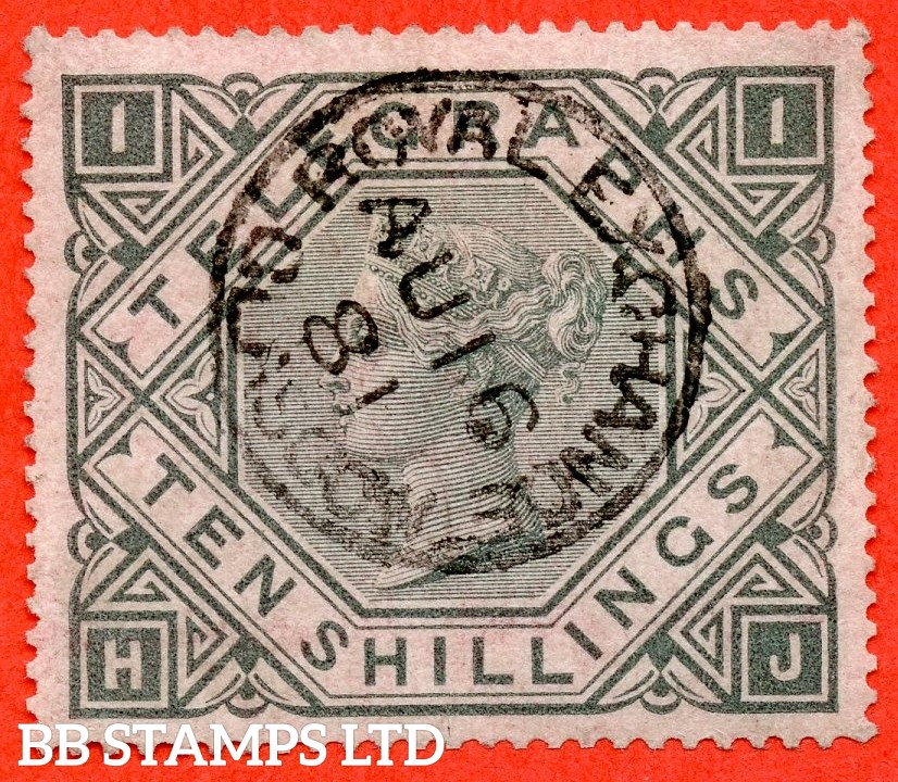 "SG. T16. L235. "" HJ "". 10/- grey green. Plate 1. A very fine "" 16th August 1881 ROYAL EXCHANGE GLASGOW "" CDS used example."